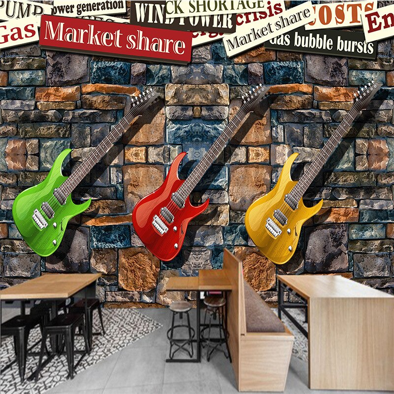 3D seamless large TV sofa mural wallpaper European and American brick stone wall electric guitar fashion personalized painting
