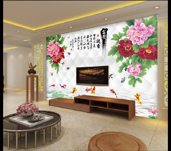 2m*1.5m 3D custom classic Chinese style peony floral painting wallpaper waterproof for living room TV Sofa bedroom background