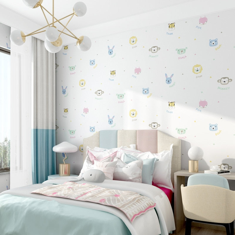 Cute animal  cartoon wallpaper Children's room wallpaper bedroom girls boys room modern simple style princess mural wallpaper