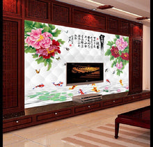 Load image into Gallery viewer, 2m*1.5m 3D custom classic Chinese style peony floral painting wallpaper waterproof for living room TV Sofa bedroom background