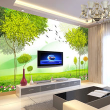 Load image into Gallery viewer, Customized 5D silk large murals wallpaper 3d TV back mural bedroom wall covering modern simple refreshing green fashion abstract