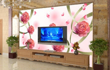 Load image into Gallery viewer, 3D roses flower wallpaper non-woven eco-friendly waterproof living room sitting room bedroom TV sofa background 3d wall murals