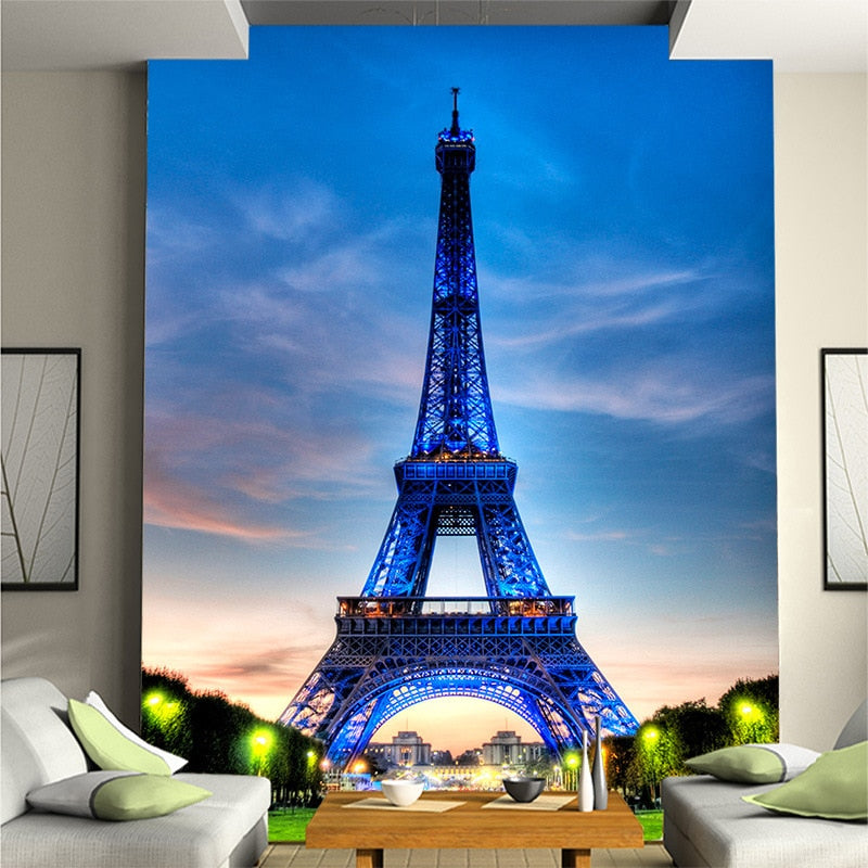Customized Paris Eiffel Tower European large murals non-woven wallpaper TV sofa background wall hotel office photo wallpaper