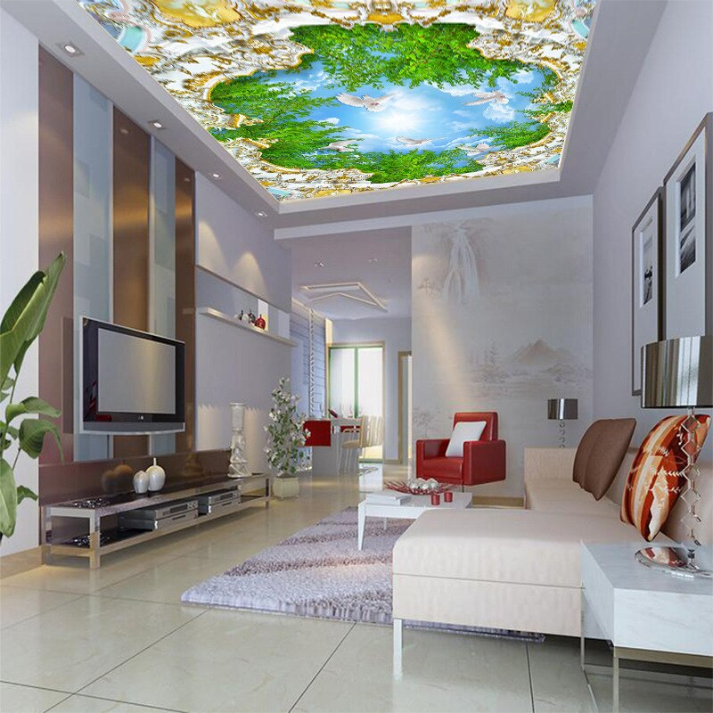 3D customized Europe style ceiling wallpaper palace green tree blue sky painting waterproof mural home improvement wall covering