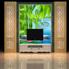 Load image into Gallery viewer, Customized 3D mural wallpaper medium-size oil painting with bamboo swan pattern as vertical background  the corridor screen
