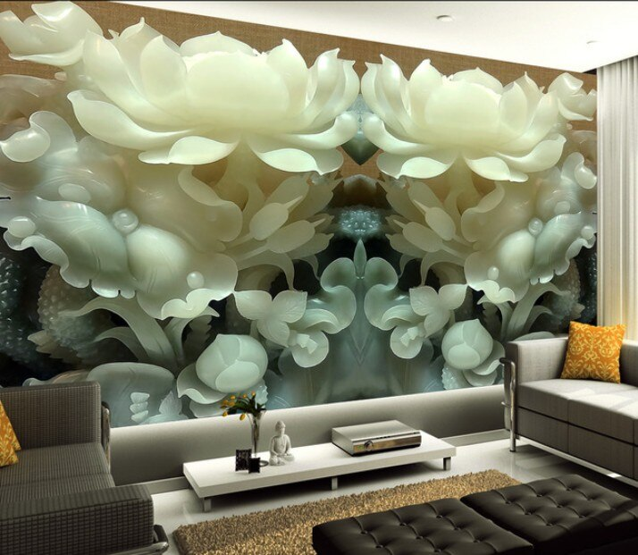 3D stereo HD Customized jade carving flowers wallpaper mural living room unique Chinese style wall covering hallway screen mural