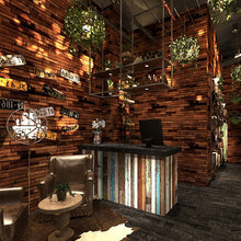 Load image into Gallery viewer, custom 3d American retro personality wood plank brick vinyl wallpaper bar restaurant clothing store cafe background wallpaper