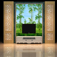 Load image into Gallery viewer, Customized 3D mural wallpaper medium-size oil painting with bamboo forest pattern as vertical background  the corridor screen