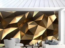 Load image into Gallery viewer, Custom large mural 3D wallpaper bedroom living Modern creative 3D expansion space golden solid geometric wall TV wall decor