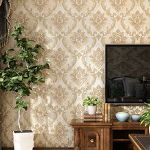 Load image into Gallery viewer, European high-end retro nostalgic wallpaper Damascus golden moisture-proof mildew-proof pressed living room bedroom TV back wall