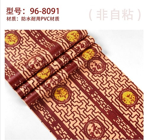 Chinese classical wallpaper imitation wood carving window pane wallpaper living room study hallway TV background wall covering
