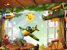 Load image into Gallery viewer, Custom large mural 3D wallpaper Cartoon world baby airplane flying child bedroom mural TV back wall decor deep 5D embossed