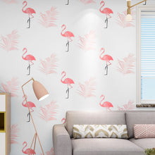 Load image into Gallery viewer, Nordic style flamingo wallpaper ins bedroom girl anchor network red live fast hand 3d stereo background wallpaper