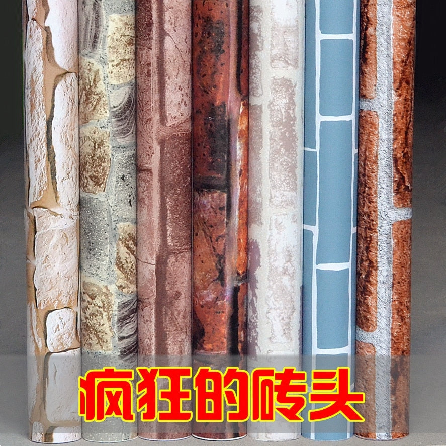 PVC wallpaper self-adhesive waterproof wallpaper thick brick pattern wall paper home decorative wall sticker student dormitory
