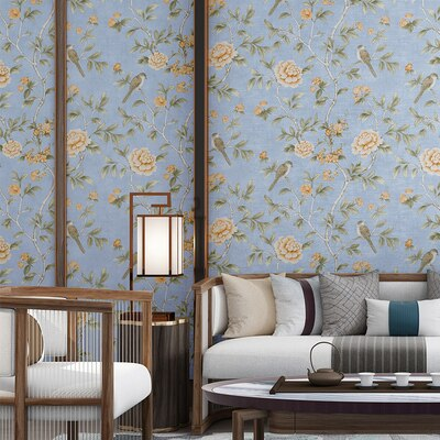 Good quality Chinese style wall paper classical pastoral flowers and birds wallpaper living room bedroom blue red dining room