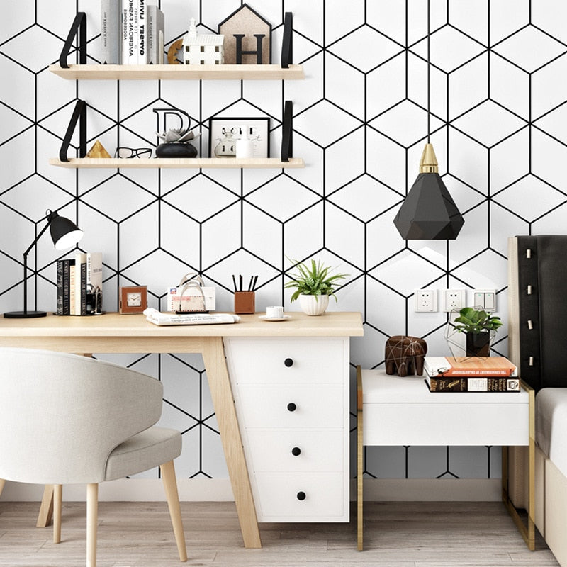 Fashion minimalism geometric wallpaper bedroom student dormitory computer desk background wall decoration modern strip wallpaper