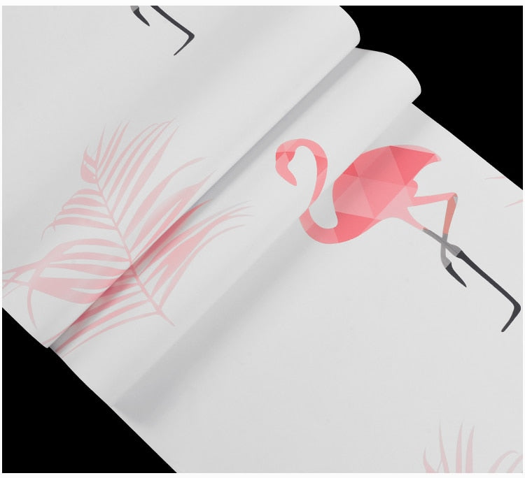 Nordic style flamingo wallpaper ins bedroom girl anchor network red live fast hand 3d stereo background wallpaper (1 5.3㎡)