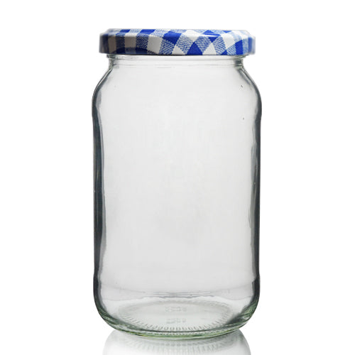370ml (1lb) Round Jar with Blue Gingham Lid