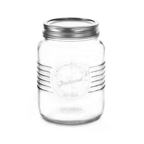 1L Old Fashioned Mason Jar with Silver two piece lid