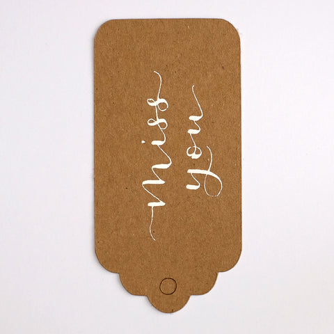 Handwritten calligraphy kraft recycled tags