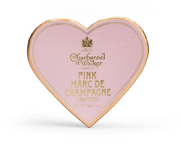 Pink Marc de Champagne Chocolate Truffles - Pink Mini Heart