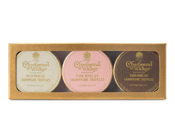 Dark, Milk and Pink Marc de Champagne  Mini Truffle Trio Gift Set