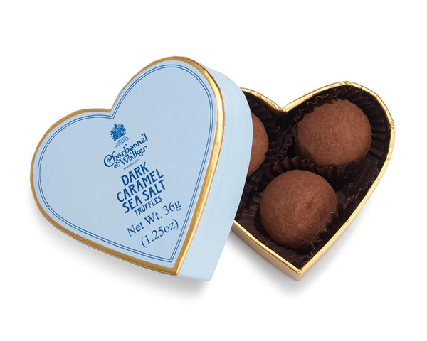 Dark Sea Salt Caramel Chocolate Truffles - Mini Heart