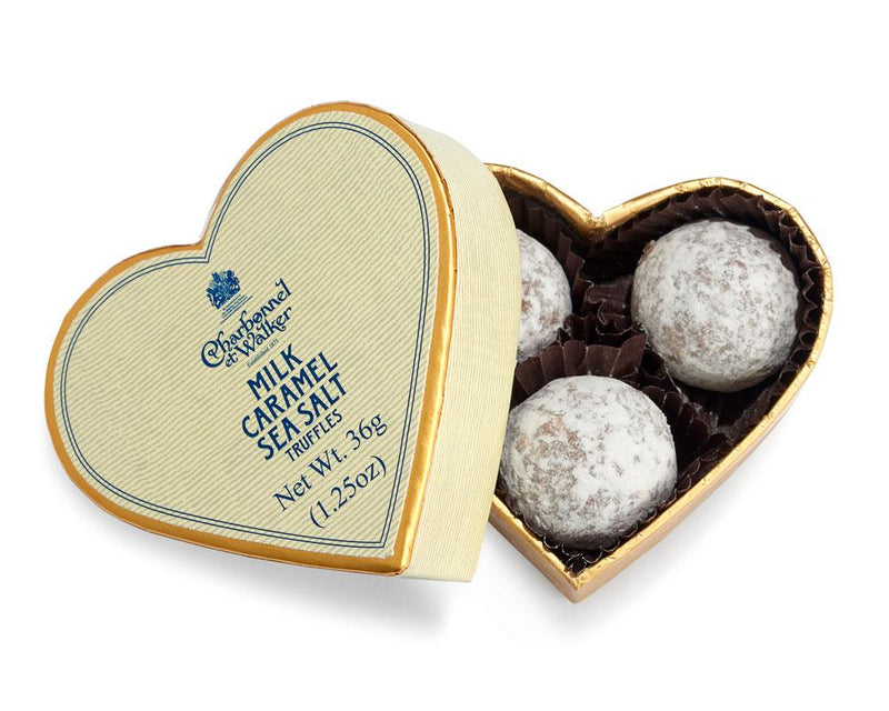 Milk Sea Salt Caramel Chocolate Truffles - Cream Mini Heart