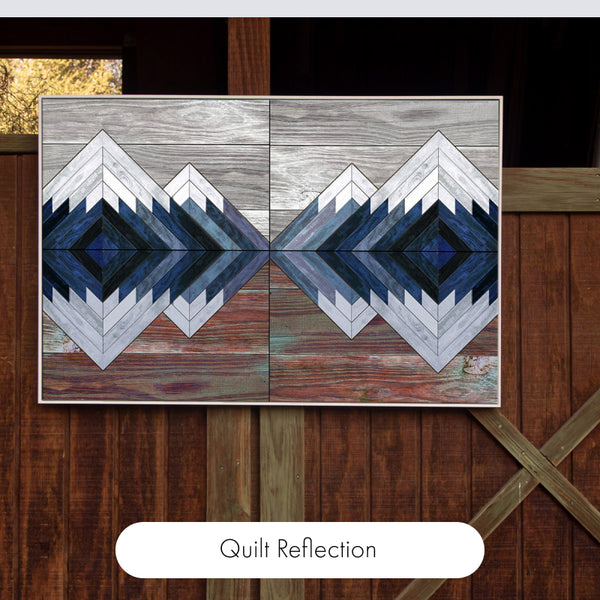 """Farmhouse Quilt Cozy Blue and Red 36"""" x 24"""" Framed Canvas Wall Art"""