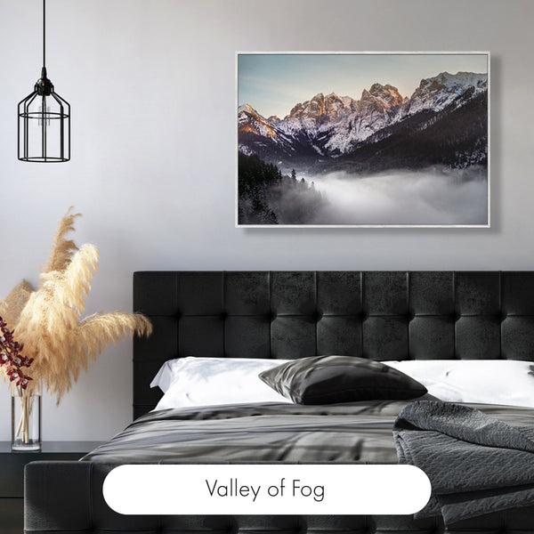"""Misty Mountains Delicate Light 36"""" x 24"""" Framed Canvas Wall Art"""