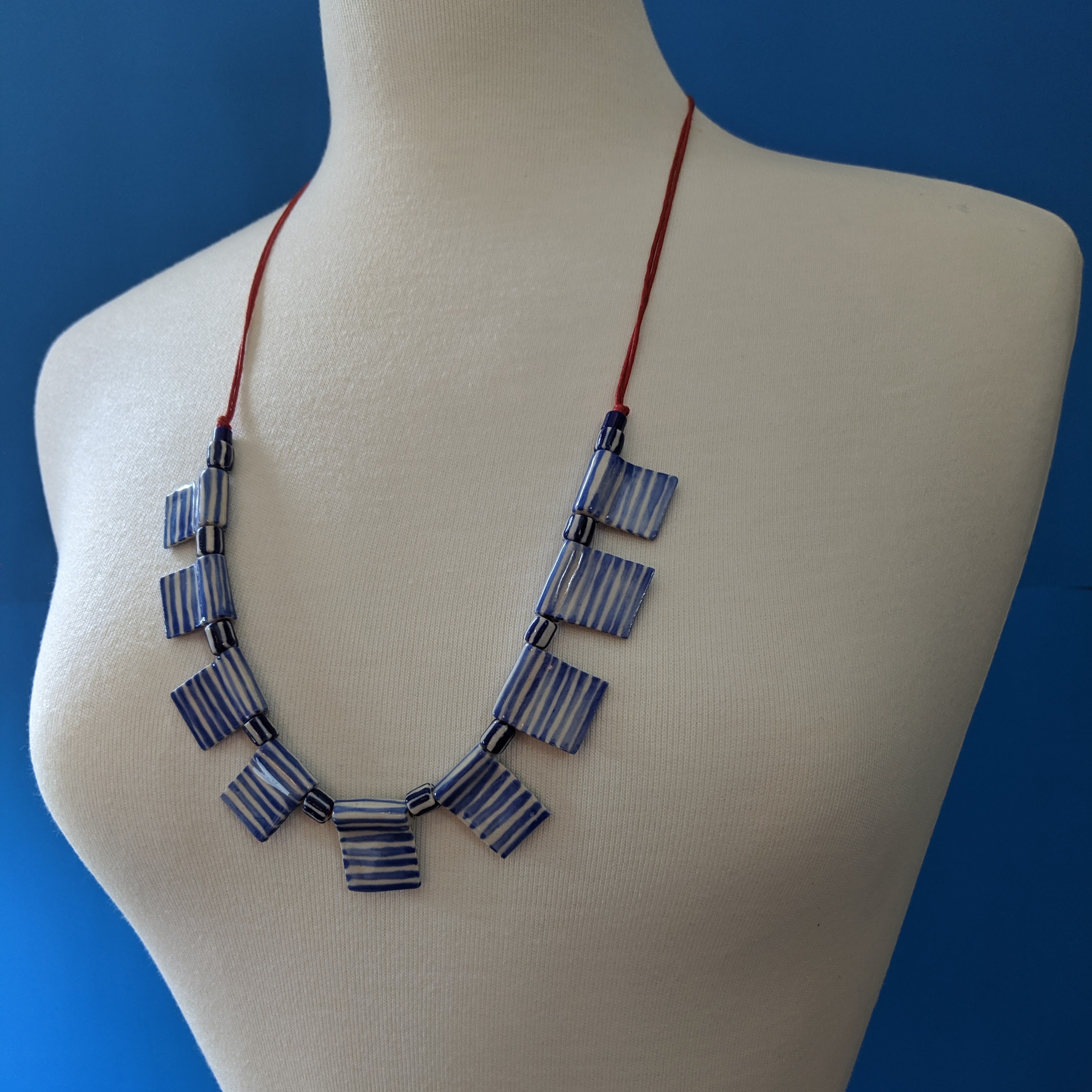 Blue/White Flag Necklace
