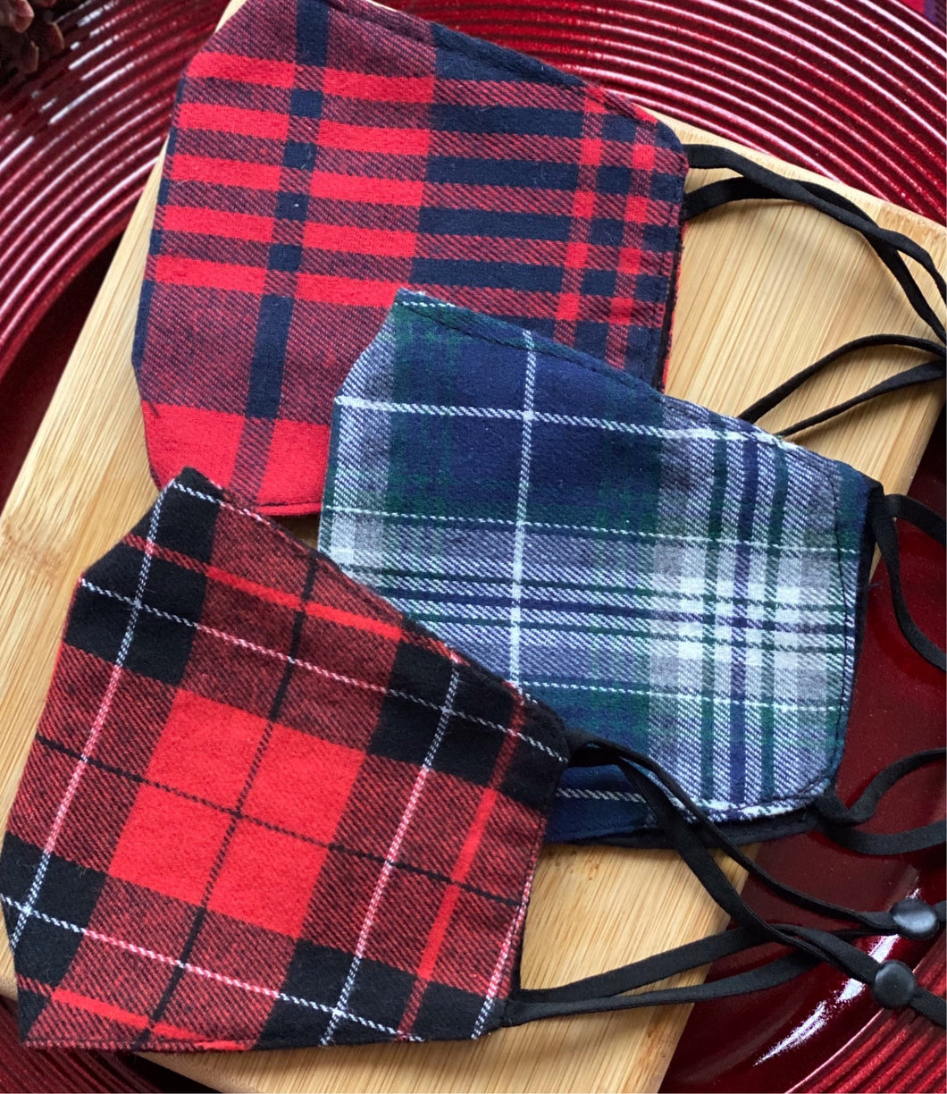 Classic Plaid Face Mask Set of 3