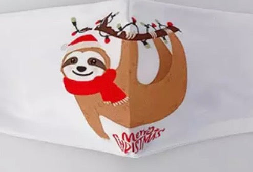 Christmas Sloth Face Mask