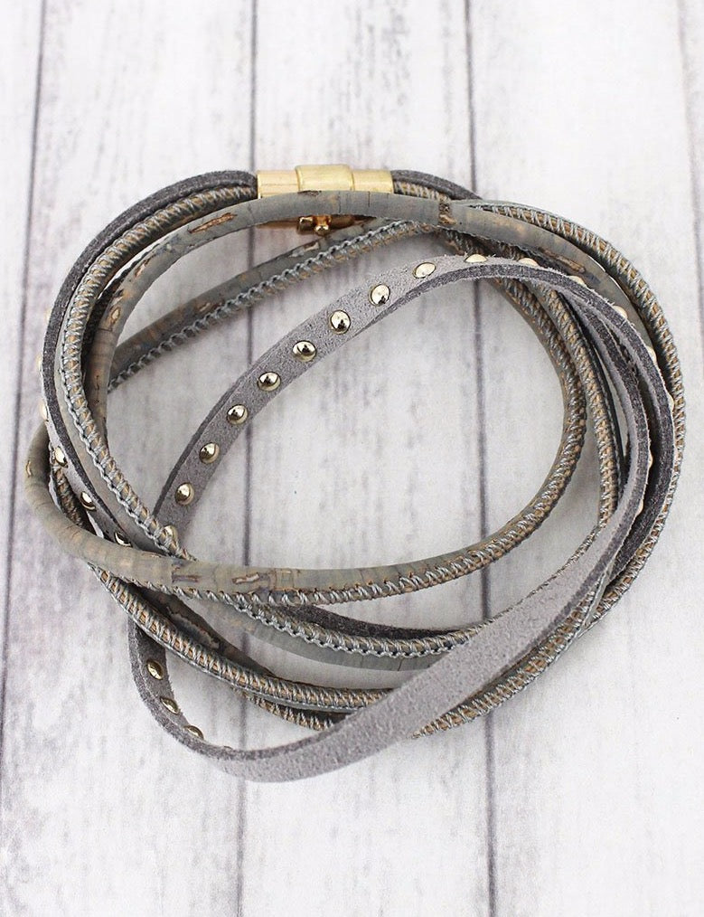 Gray cork & studded faux suede magnetic wrap bracelet