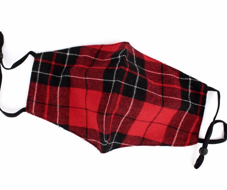 Red Scottish Plaid Face Mask