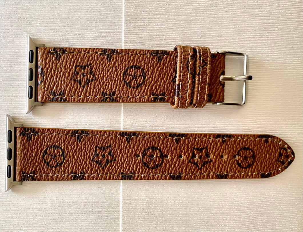 Luxury Watch Band in Tan & Dark Brown Floral Print