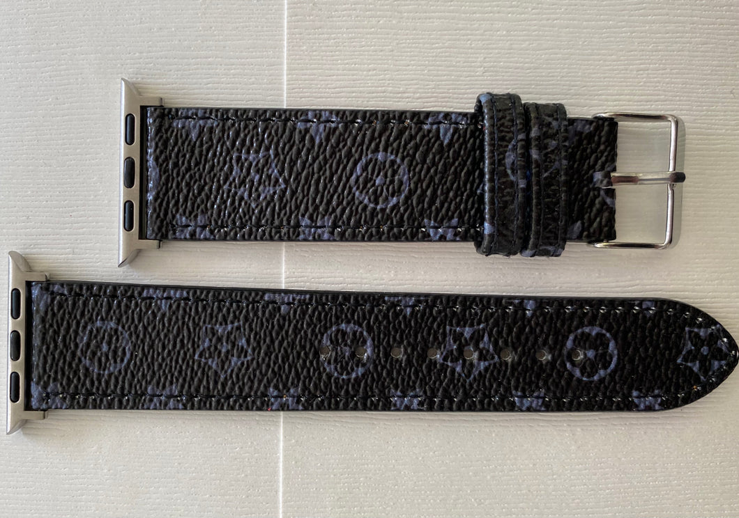 Luxury Watch Band in Black & Gray Floral Print