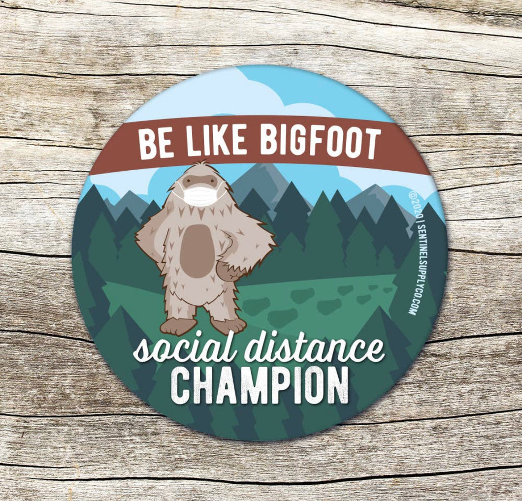 Bigfoot Social Distancing Expert Stickers & Pins