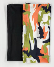 Load image into Gallery viewer, FACE MASK NECK GAITER 2 PC SET IN ORANGE CAMO & BLACK
