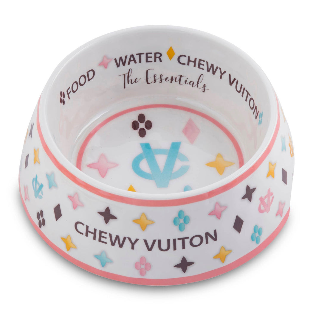 Chewy Vuiton Dog Bowl - White