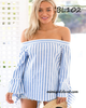 Off Shoulder Striped Long Sleeve Blouse