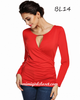 V-Neck Hollow Out Long Sleeve Blouse Red
