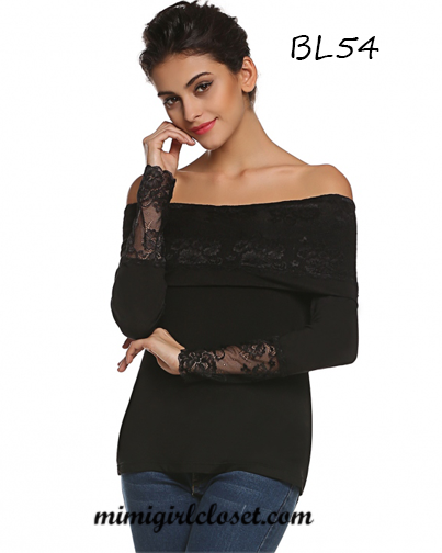 Lace Off Shoulder Long Sleeve Slim Top Blouse