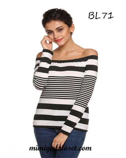 Long Sleeve Off Shoulder Stripe Slim Top