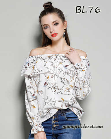 Off Shoulder Print Flare Sleeve Blouse White