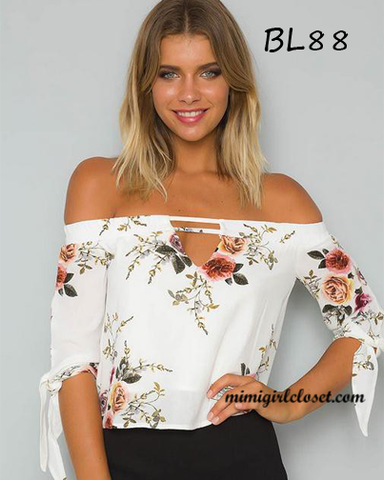 Off Shoulder Print Floral Blouse
