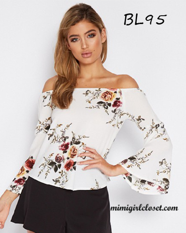 Off The Shoulder Floral Woman Blouse