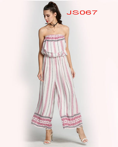Vintage Style Women Off Shoulder Ruffles Wide Leg Casual Long Jumpsuit