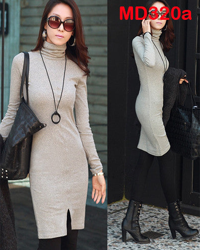 Long Sleeve Turtle Neck Slim Mini Dress - MyMimiGirl Closet
