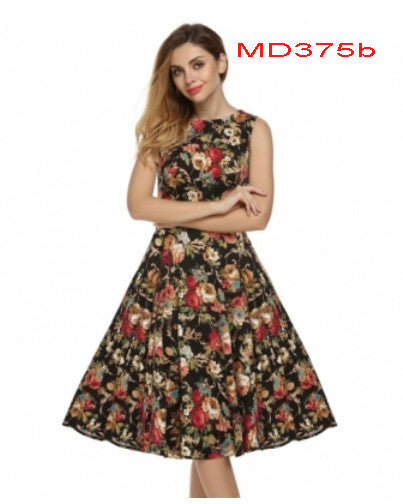 Casual Sleeveless Floral Printed Mid-calf Length Mini Dress - MyMimiGirl Closet